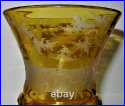 1900's Antique Bohemian YellowithAmber Cut to Clear Glass Large Glass