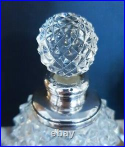 1903 Sterling Silver Scent Bottles Cut Glass Antique Pair English Edwardian