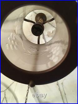 1920s Copper and Cut Frosted Glass Ceiling Lantern Lamp Hallway Vestibule
