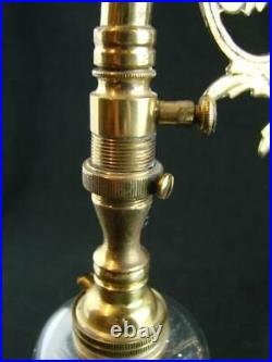 19th C SWAN NECK GAS LAMP / WALL LIGHT CONVERTED TO ELECTRIC, CUT GLASS SHADE