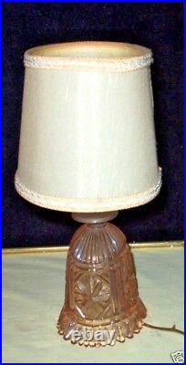2 Pair Stunning Czech Pink Cut Depression Glass Bedroom Lamp & Shade UNIQUE
