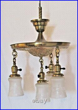4-Light Art Nouveau BRASS CHANDELIER with Frosted Cut Glass Shades RibbonTassels