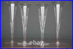 4 antique tall champagne flute wine glasses hand blown facette cut 1840s French