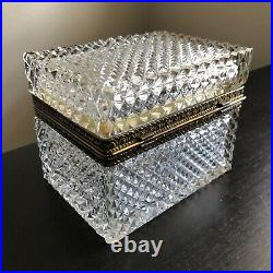 ANTIQUE EARLY 20th BACCARAT DIAMOND CUT CRYSTAL SUGAR CASKET JEWELRY BOX with KEY
