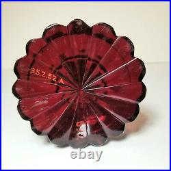ANTIQUE RUBY COLORED CUT GLASS OIL LAMP 19th. Century