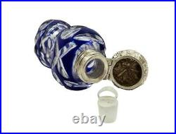 ANTIQUE SILVER & BLUE OVERLAY CUT GLASS PERFUME / SCENT BOTTLE c1890