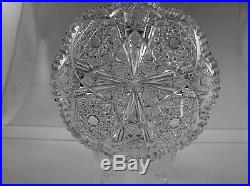 American Brilliant Cut Glass Antique Crystal Jeweled Center Hobstar Low Bowl