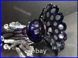 An Antique Blue Cobalt Cut To Clear Lamp With 10 Cut Clear Prisms Ca 1920