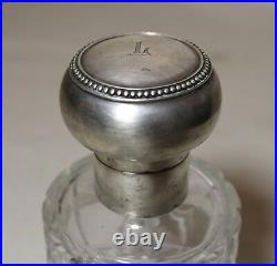 Antique 1800's sterling silver cut crystal perfume cologne barber glass bottle