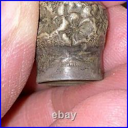 Antique 1800s Cut Glass Scent Bottle Sterling Silver Top 3 Inch Long Amazing