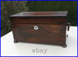 Antique 19th C Rosewood Wood Tea Caddy with Cut Glass Mixing Bowl