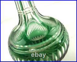 Antique 19th Century Green Overlay Cut To Clear Decanter Bohemian