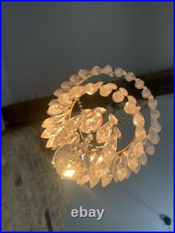 Antique 3 Tier Cut Crystal Glass Chandelier with Ceiling Hook and Pendant Light
