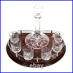 Antique 7 Piece Ships Decanter Set & 6 Cut Royal Doulton Crystal Whiskey Glasses