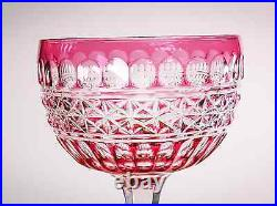 Antique ABP American Brilliant Period Cranberry Glass Cut to Clear 2 Wine Stems