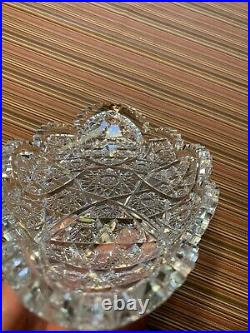 Antique ABP American Brilliant Period Cut Glass Crystal Boat Bowl Tray 14.5
