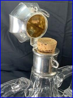 Antique Abp 7lb 4 Pint Signed Hawkes Sterling Silver Cut Glass Master Decanter