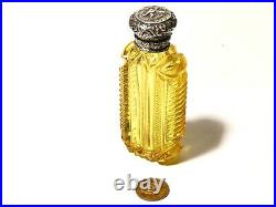 Antique Amber Coloured Cut Glass Scent Perfume Bottle with Cupid on Lid #T213B