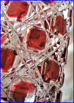 Antique Baccarat Red Cut to Clear Large Crystal Perfume Bottle withStopper