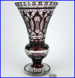 Antique Bohemian Czech Ruby Red Cut to Clear Cased Glass Crystal Vase Geometric