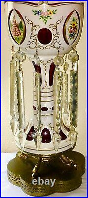 Antique Bohemian Mantle Luster Lamp. 18, White Cut to Cranberry, Crystal Prisms