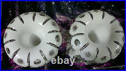 Antique Bohemian Moser Glass White Overlay Clear Glass Mantel Lustres c1870