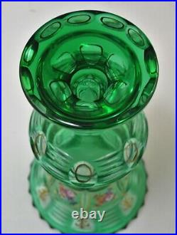 Antique Bohemian Moser Green Crystal Vase Cut Co Clear Hand Painted