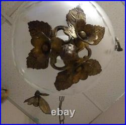 Antique Brass and Cut Frosted Glass Hanging Lamp withTrailing Roses and Leaves