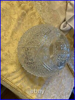 Antique Brilliant Cut Crystal Glass Oil Lamp Shade 8 Diameter 4 opening