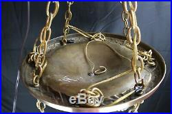 Antique Classic Revival Brass Bowl Chandelier 5 Hanging Lights Cut Glass Shades