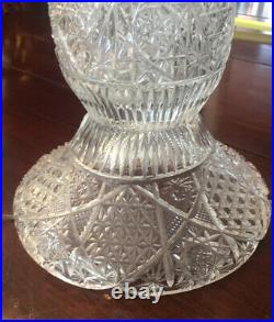 Antique Cut Glass 26 Tall Table Lamp 41 Lusters Prisms Excellent