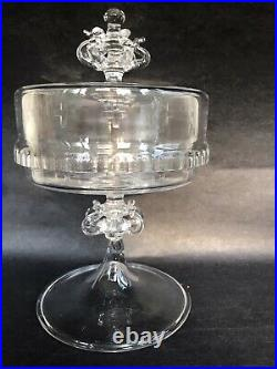 Antique Cut Glass Ornate Etched Pedestal Footed Apothecary Candy Cover Jar Tazza