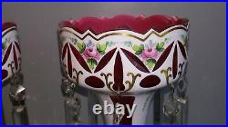 Antique Czech Bohemian Overlay Mantle Lustres White Cut To Cranberry Pink