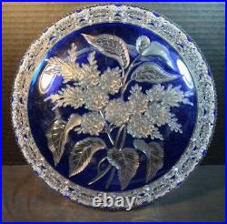Antique Delicately Cut Bohemian Blue Overlay Cut to Clear Crystal Glass Bowl