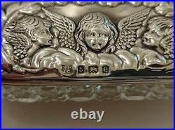 Antique Edwardian 1904 sterling silver Hallmarked topped cut glass trinket box