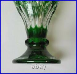 Antique Emerald Green Cut-to-Clear 10 Crystal Vase