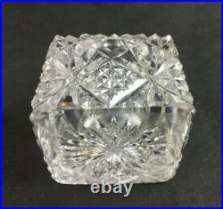 Antique English or French Brilliant Cut Glass 3 3/8 INKWELL with Cut Glass Lid