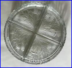 Antique Footed Sterling Silver and Cut Glass Serving Dish with Handle by Wilcox
