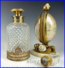 Antique French Baccarat 6 x 3 Cut Crystal Decanter, Scent Bottle, Dore Bronze