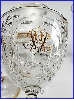 Antique French Baccarat Set of 5 Wheel Cut Monogrammed Crystal Stems