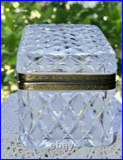 Antique French Baccarat Style Diamond Cut Crystal Dresser Box or Jewel Casket