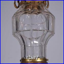 Antique French Bronze & Cut Glass Hanging Lamp/Chandelier