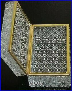 Antique French Crystal Cut Glass Dresser Trinket Jewelry Hinged Box Casket Mint