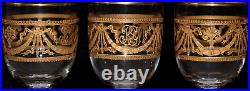 Antique French Cut Crystal ST LOUIS Port Sherry Glass SET 3 Gold Encrusted