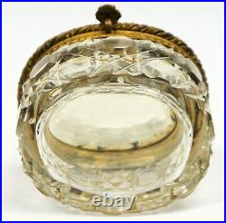 Antique French Jewelry Box Cut Crystal Gilded Dore Bronze with Miniature Portrait