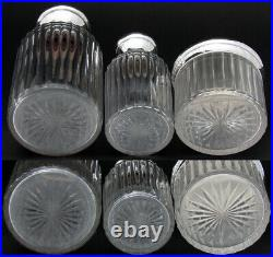 Antique French Sterling Silver & Cut Glass 3pc Vanity Set, Two Perfumes & Lg Jar