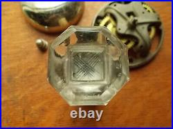 Antique Nickel Plated Mechanical Doorbell & Cut Glass Pull c. 1885 by Sargent