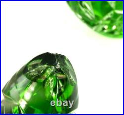Antique Or Vintage Emerald Green Overlay Cut To Clear Decanter Bohemian