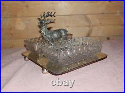Antique Silver Plate Stag Deer Cut Glass Peanut Trinket Trays