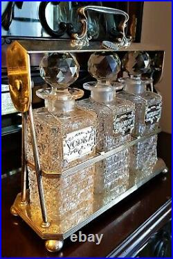 Antique Silver-plated Tantalus With 3 Glass Decanters